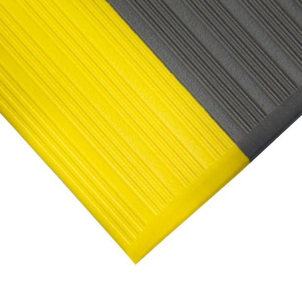 Šedo-žlutá protiskluzová protiúnavová průmyslová pěnová rohož - výška 0,9 cm