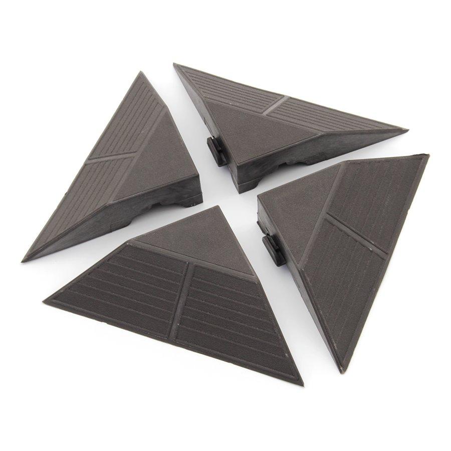 Tmavě hnědý plastový rohový nájezd pro terasovou dlažbu Linea Combi - výška 4,8 cm - 4 ks