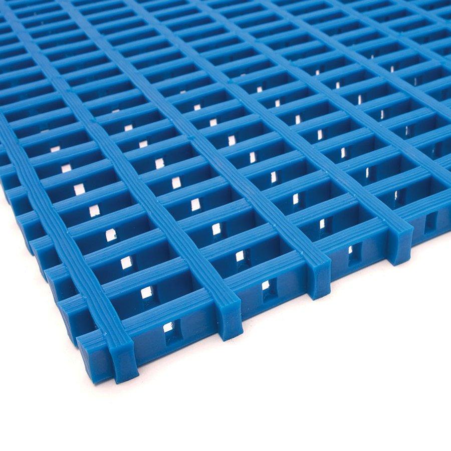 Modrá olejivzdorná protiskluzová průmyslová univerzální rohož (mřížka 22 x 10 mm) - výška 1,2 cm