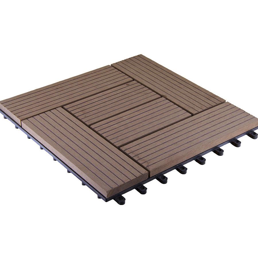 Hnědá dřevoplastová WPC terasová dlaždice Palmyra - délka 30 cm, šířka 30 cm a výška 2,3 cm