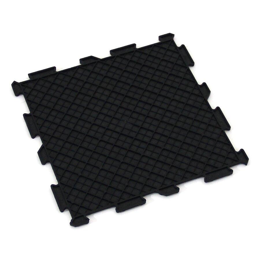 Černá gumová puzzle terasová dlažba FLOMA Alpha Tile - délka 30 cm, šířka 30 cm a výška 0,7 cm - 10 ks