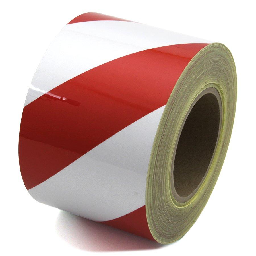 Bílo-červená levá reflexní výstražná páska - délka 45 m a šířka 10 cm