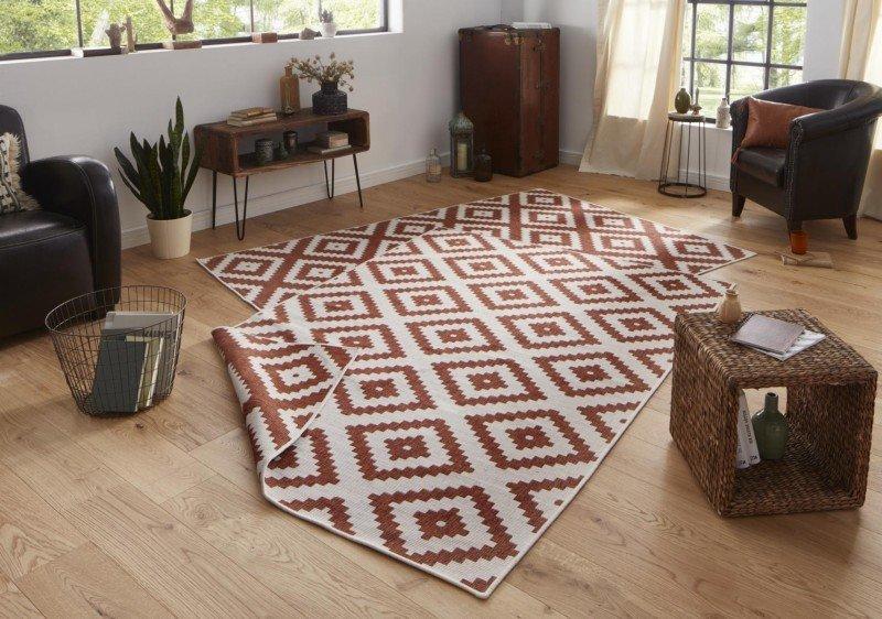 Hnědý moderní oboustranný kusový koberec Twin-Wendeteppiche - délka 350 cm a šířka 80 cm
