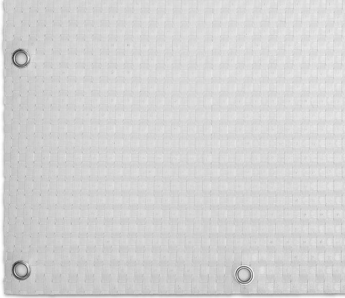 """Bílá plastová ratanová stínící rohož """"umělý ratan"""" s oky - délka 500 cm a výška 90 cm"""