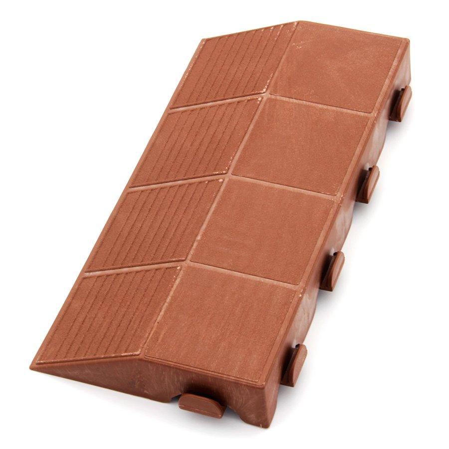 """Hnědý plastový nájezd """"samec"""" pro terasovou dlažbu Linea Combi - délka 40 cm, šířka 20,5 cm a výška 4,8 cm"""