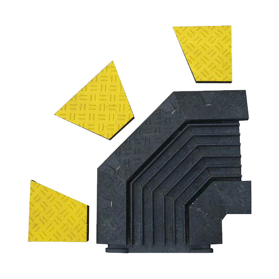 "Černo-žlutý plastový rohový kabelový most ""levá zatáčka"" s víkem - délka 50 cm, šířka 43 cm a výška 6 cm"