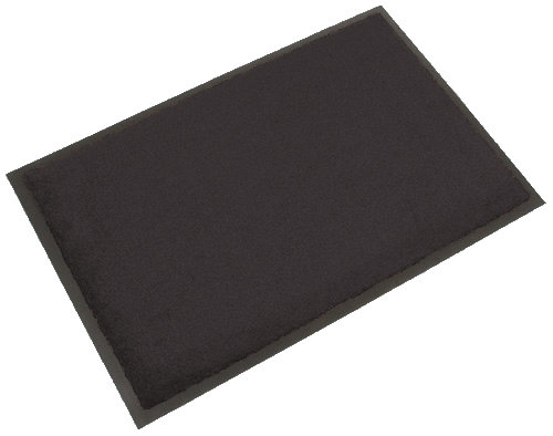 Šedá textilní vstupní vnitřní čistící rohož - délka 60 cm, šířka 90 cm a výška 0,45 cm