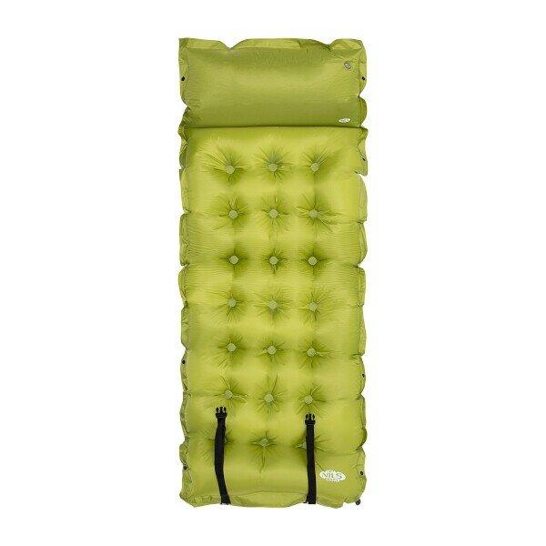 Zelená samonafukovací karimatka s podhlavníkem NILS CAMP NC4018 - délka 188 cm, šířka 66 cm a výška 3,5 cm