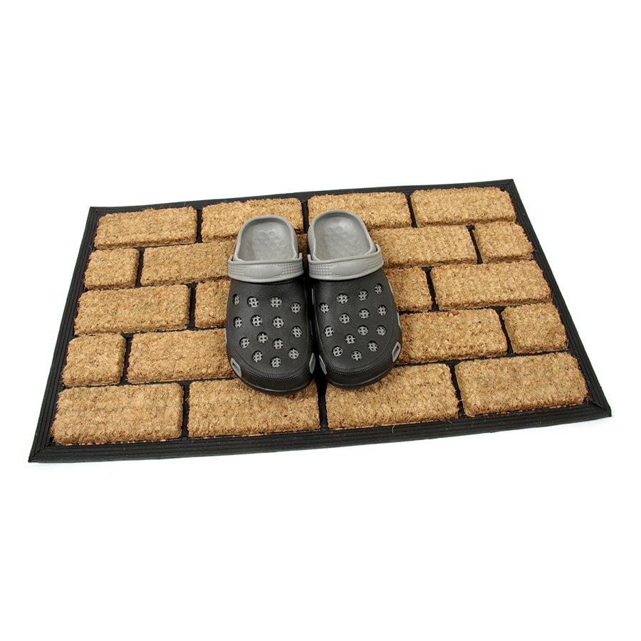 Kokosová čistící venkovní vstupní rohož FLOMA Rectangle - Bricks - délka 45 cm, šířka 75 cm a výška 2,2 cm