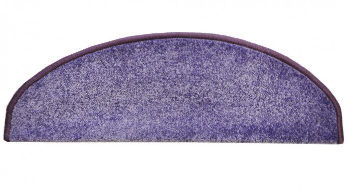 Fialový kobercový půlkruhový nášlap na schody Eton - délka 20 cm a šířka 65 cm