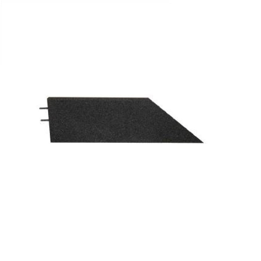 Černý levý nájezd (roh) pro gumové dlaždice - délka 75 cm, šířka 30 cm a výška 4 cm