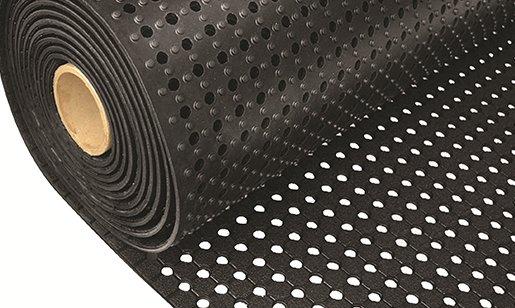 Černá gumová metrážová univerzální rohož FLOMA - délka 1 cm, šířka 91 cm a výška 1 cm