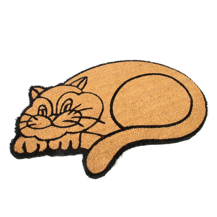 Kokosová vstupní venkovní čistící rohož Happy Cat, FLOMAT - délka 45 cm, šířka 75 cm a výška 1,7 cm