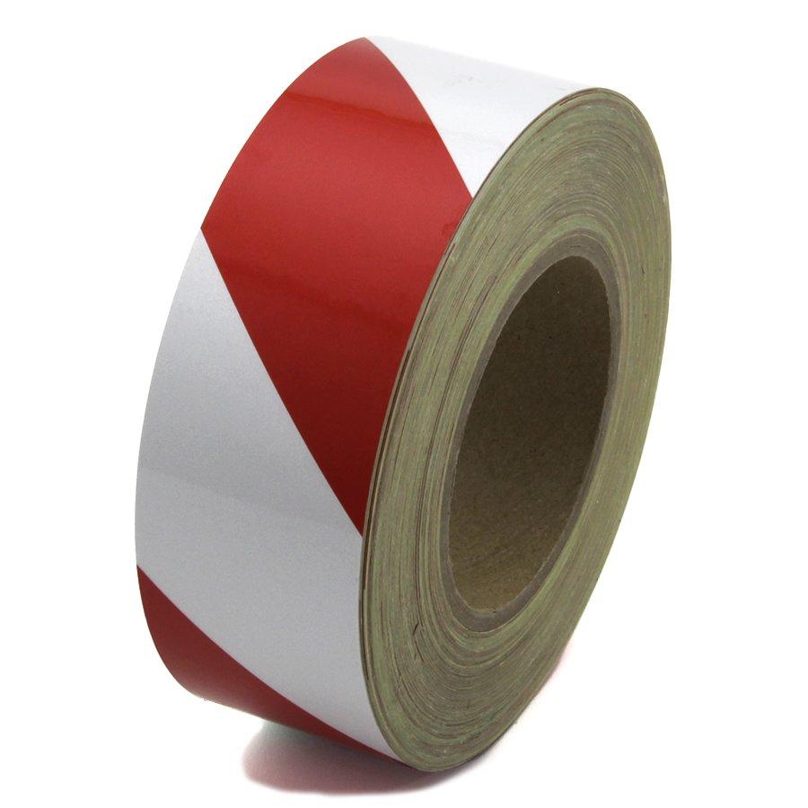 Bílo-červená pravá reflexní výstražná páska - délka 45 m a šířka 5 cm