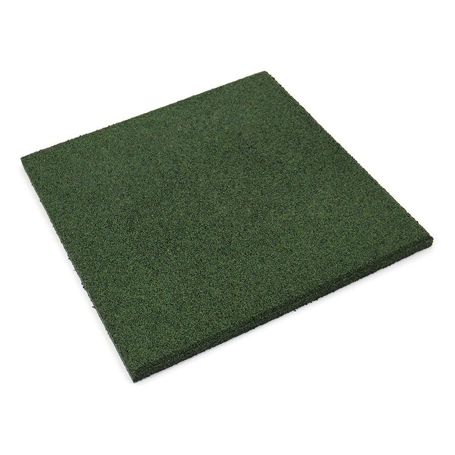 Zelená gumová hladká dlažba (V20/R00) FLOMA - délka 50 cm, šířka 50 cm a výška 2 cm