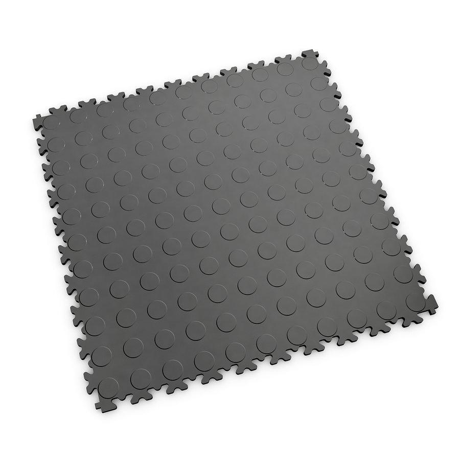 Grafitová vinylová plastová zátěžová dlaždice Industry 2040 (penízky), Fortelock - délka 51 cm, šířka 51 cm a výška 0,7 cm