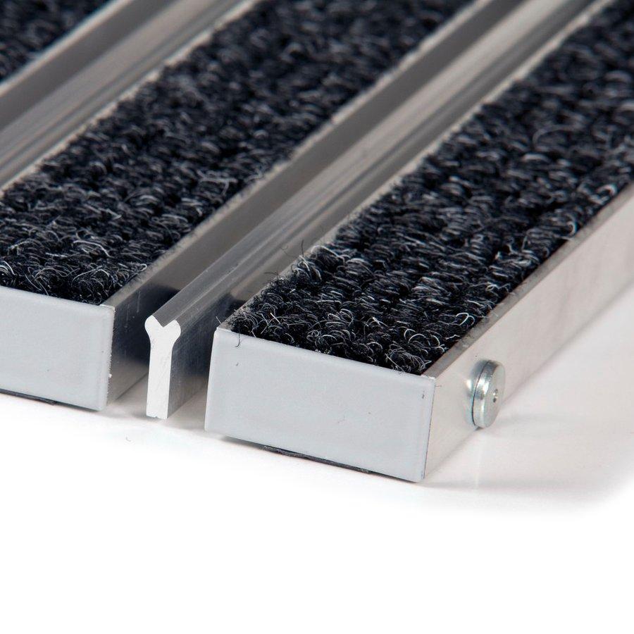 Textilní hliníková kartáčová vnitřní vstupní rohož Alu Wide, FLOMA - délka 100 cm, šířka 100 cm a výška 2,2 cm