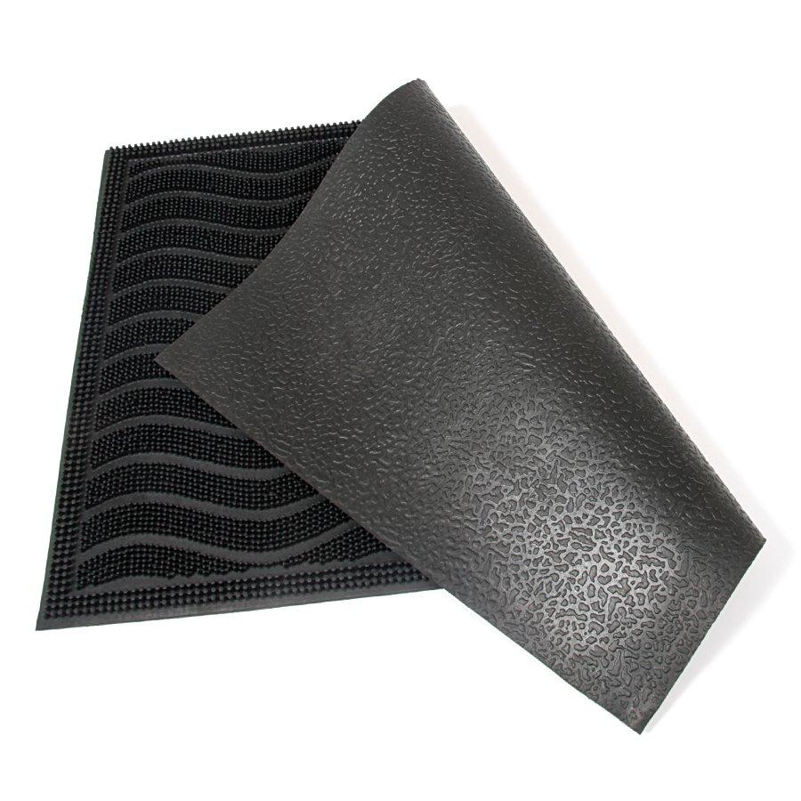 Gumová čistící venkovní vstupní rohož Waves, FLOMAT - délka 40 cm, šířka 60 cm a výška 0,9 cm