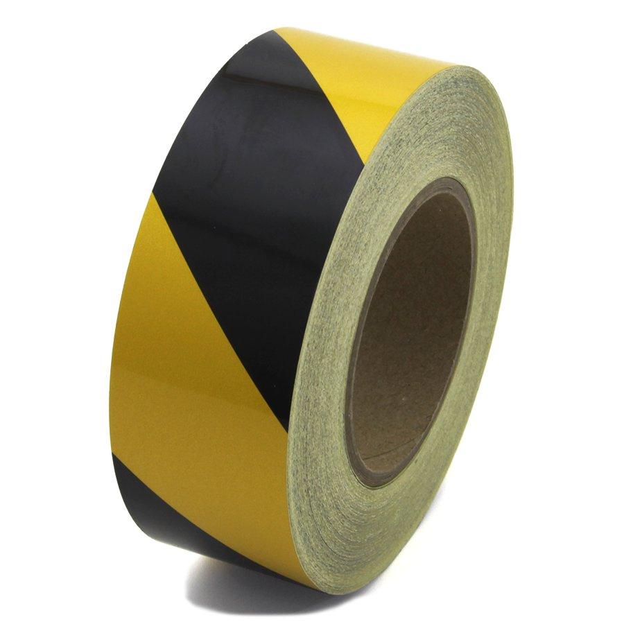 Černo-žlutá pravá reflexní výstražná páska - délka 45 m a šířka 5 cm
