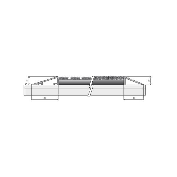 Hliníkový náběhový rám pro vstupní rohože a čistící zóny FLOMA - délka 1 cm, šířka 4,5 cm a výška 2 cm