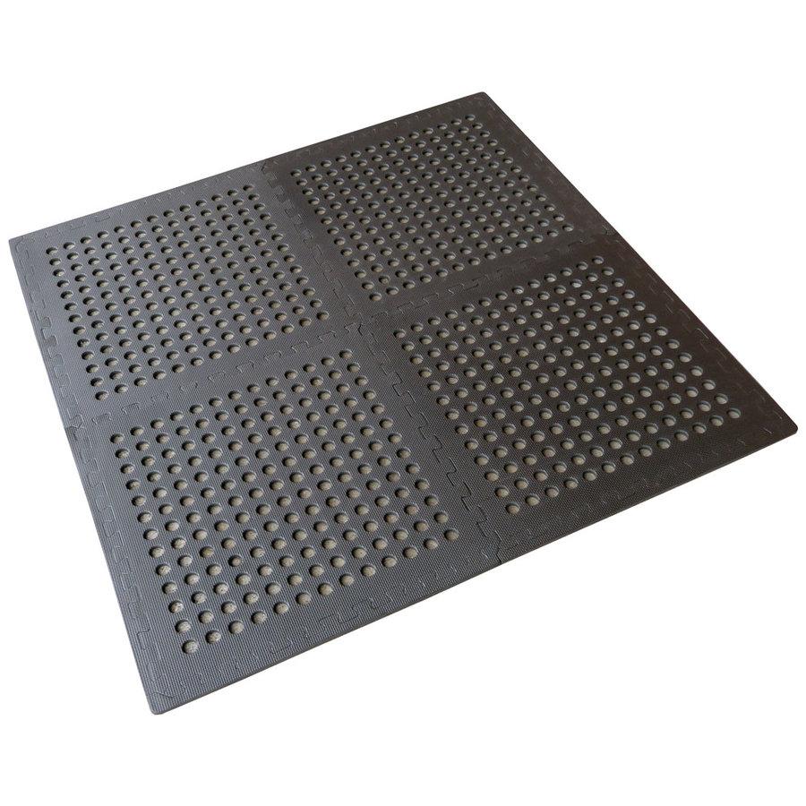 Černá modulární pěnová podlahová děrovaná podložka - délka 122 cm, šířka 122 cm a výška 1,1 cm - 4 ks