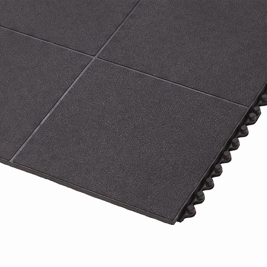 Černá gumová protiúnavová průmyslová rohož FLOMA - délka 91 cm, šířka 91 cm a výška 1,9 cm