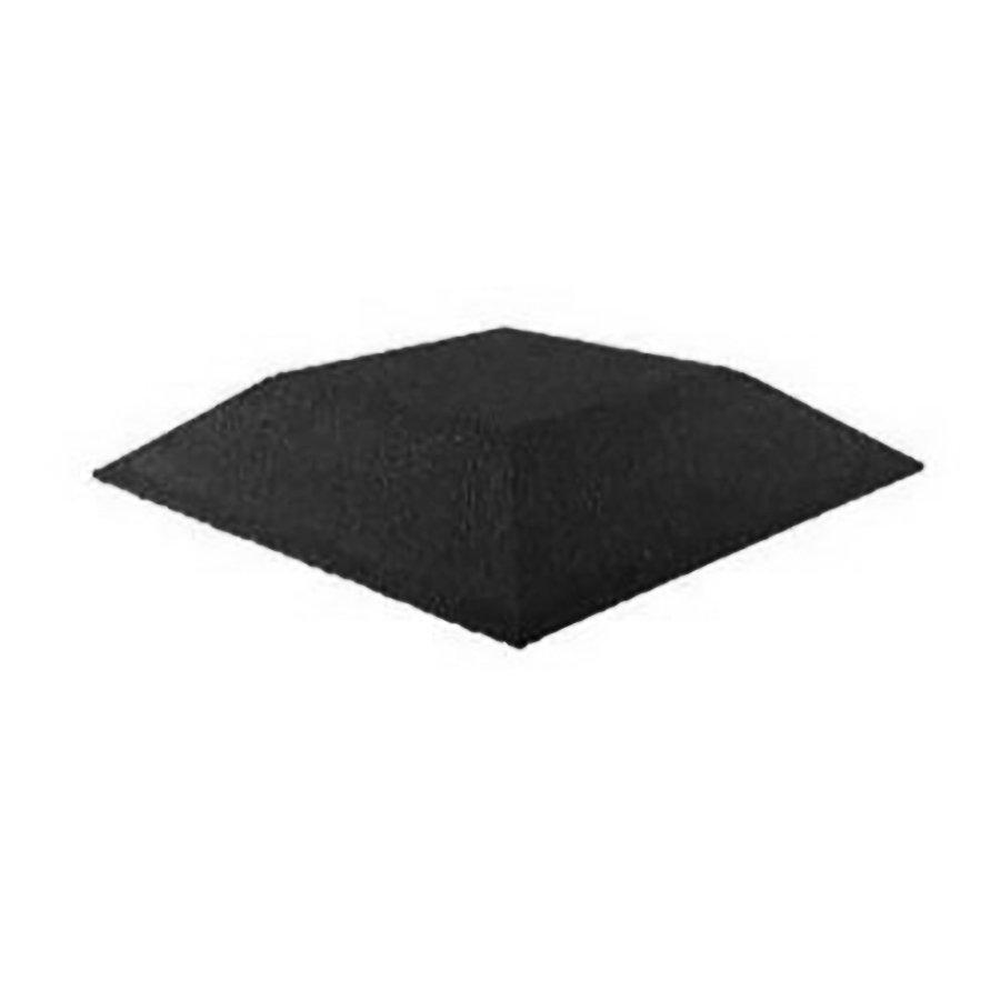 Černá gumová krajová dopadová dlaždice (roh) (V90/R00) FLOMA - délka 50 cm, šířka 50 cm a výška 9 cm