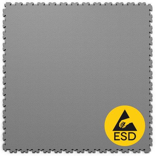 Šedá PVC vinylová zátěžová dlažba Fortelock XL ESD - délka 65,3 cm, šířka 65,3 cm a výška 0,4 cm