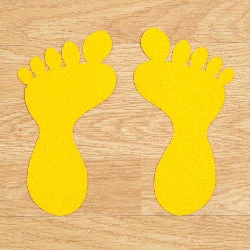 Žlutá korundová protiskluzová samolepící podlahová páska (chodidlo) - délka 20 cm a šířka 10,5 cm - 10 ks