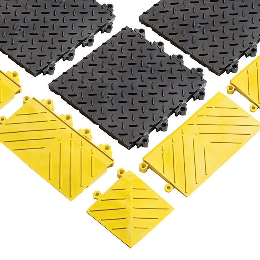 Černá plastová modulární plná rohož (dlaždice) Diamond Flex Lok Solid - délka 30 cm, šířka 30 cm a výška 2,5 cm