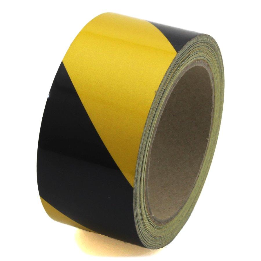Černo-žlutá pravá reflexní výstražná páska - délka 15 m a šířka 5 cm