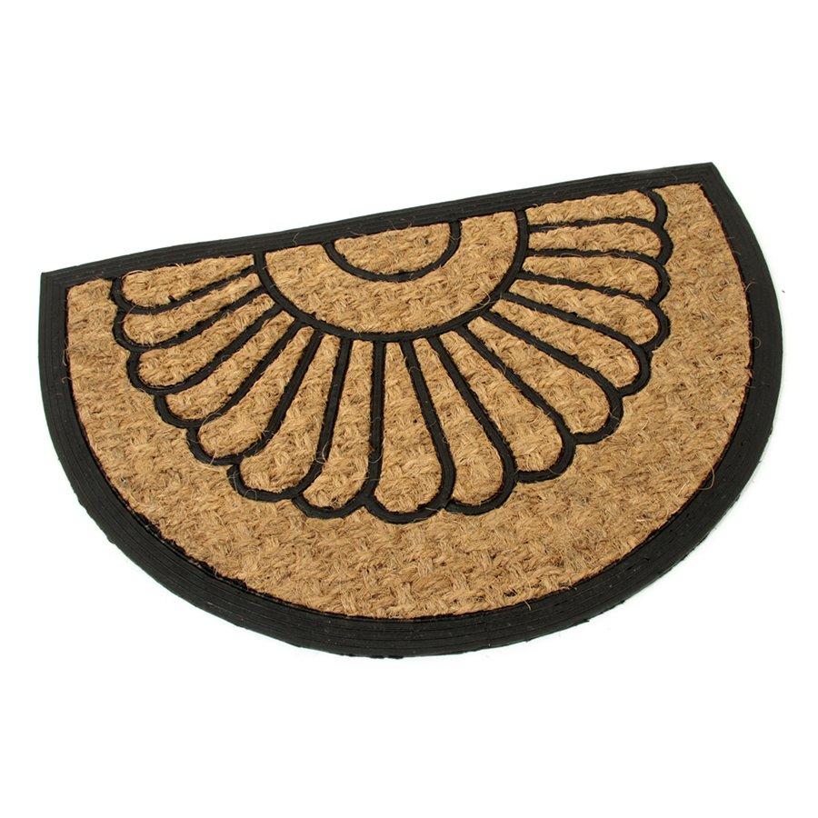 Kokosová čistící venkovní vstupní půlkruhová rohož Flower, FLOMAT - délka 40 cm, šířka 60 cm a výška 0,8 cm