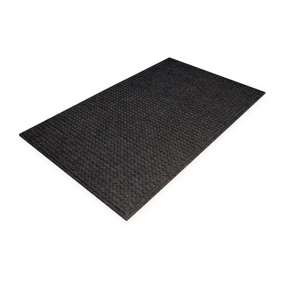 Černá plastová čistící vnitřní vstupní rohož - výška 1 cm