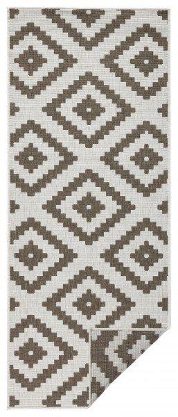 Hnědý moderní oboustranný kusový koberec Twin-Wendeteppiche - délka 150 cm a šířka 80 cm
