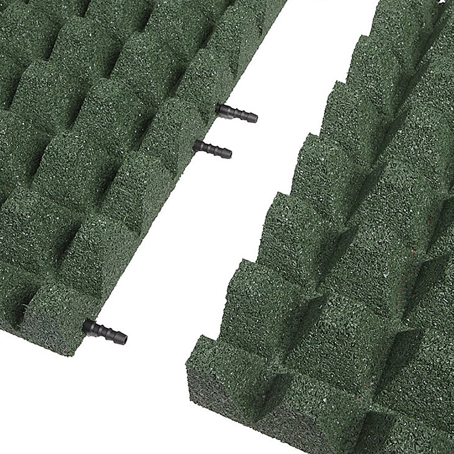 Zelená gumová krajová dopadová dlaždice (V65/R50) FLOMA - délka 50 cm, šířka 25 cm a výška 6,5 cm