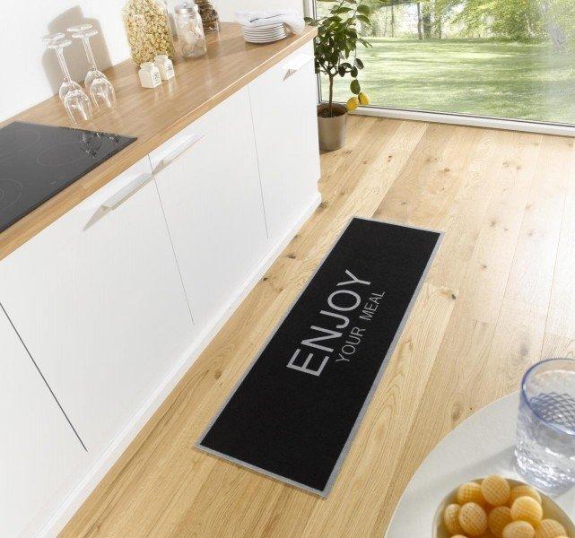 Černá moderní kusová kuchyňská bytová předložka Cook & Clean, 02 - délka 150 cm a šířka 50 cm