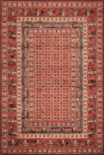 Červený orientální kusový koberec Kashqai - délka 200 cm a šířka 135 cm