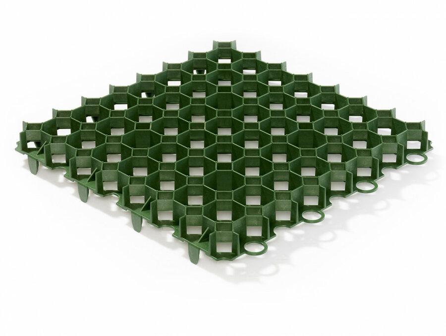 Zelená plastová zatravňovací dlažba - délka 50 cm, šířka 50 cm a výška 6,2 cm