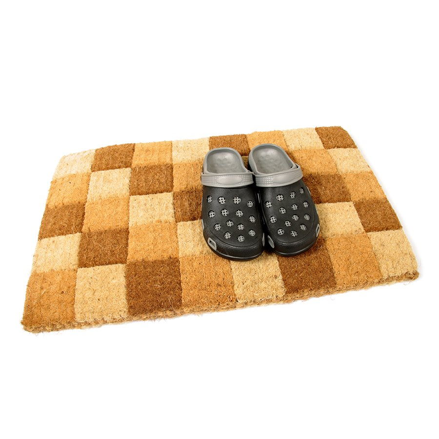 Kokosová vstupní venkovní čistící rohož Squares, FLOMA - délka 45 cm, šířka 75 cm a výška 4,7 cm