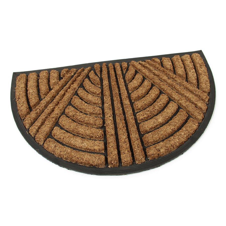 Kokosová čistící venkovní půlkruhová vstupní rohož FLOMA Stripes - Lines - délka 45 cm, šířka 75 cm a výška 2,2 cm