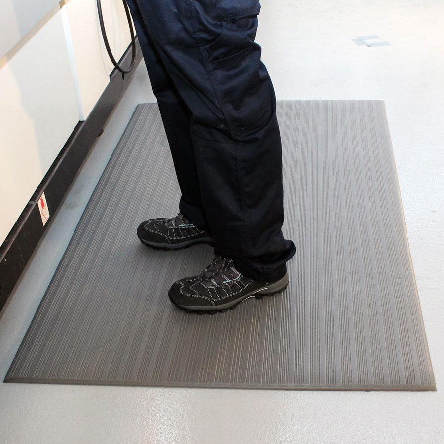 Šedá vinylová průmyslová protiúnavová protiskluzová rohož - délka 150 cm, šířka 90 cm a výška 0,9 cm