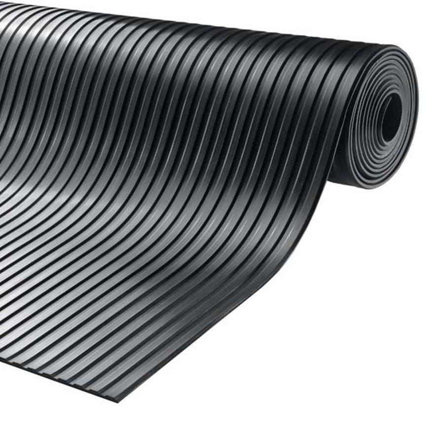 Černá průmyslová protiskluzová podlahová guma Gamma - délka 10 m, šířka 100 cm a výška 0,6 cm
