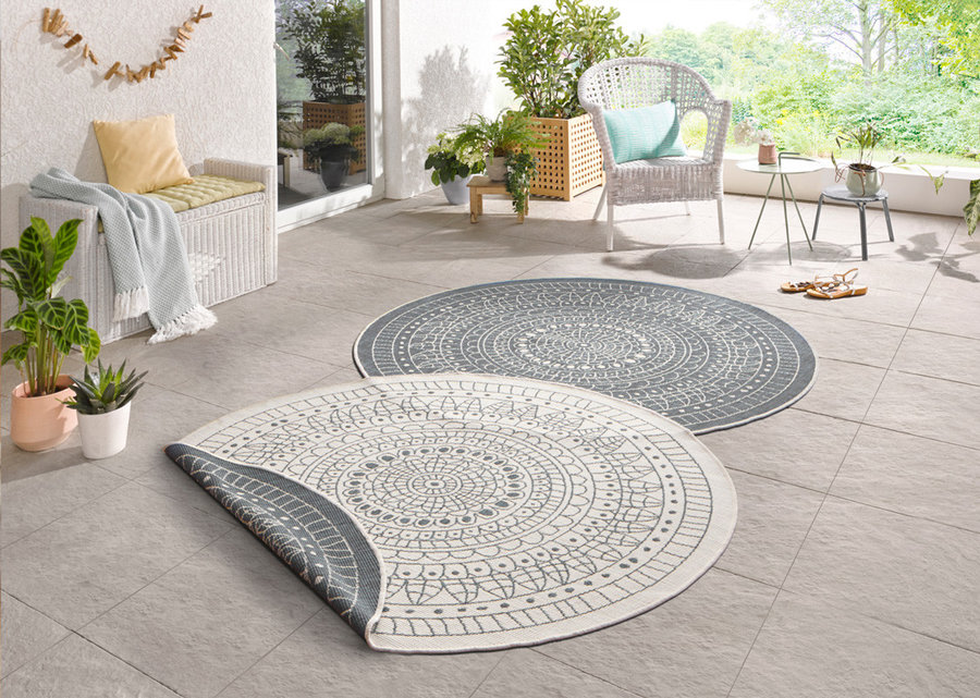 Šedý moderní oboustranný kusový kulatý koberec Twin-Wendeteppiche - průměr 200 cm
