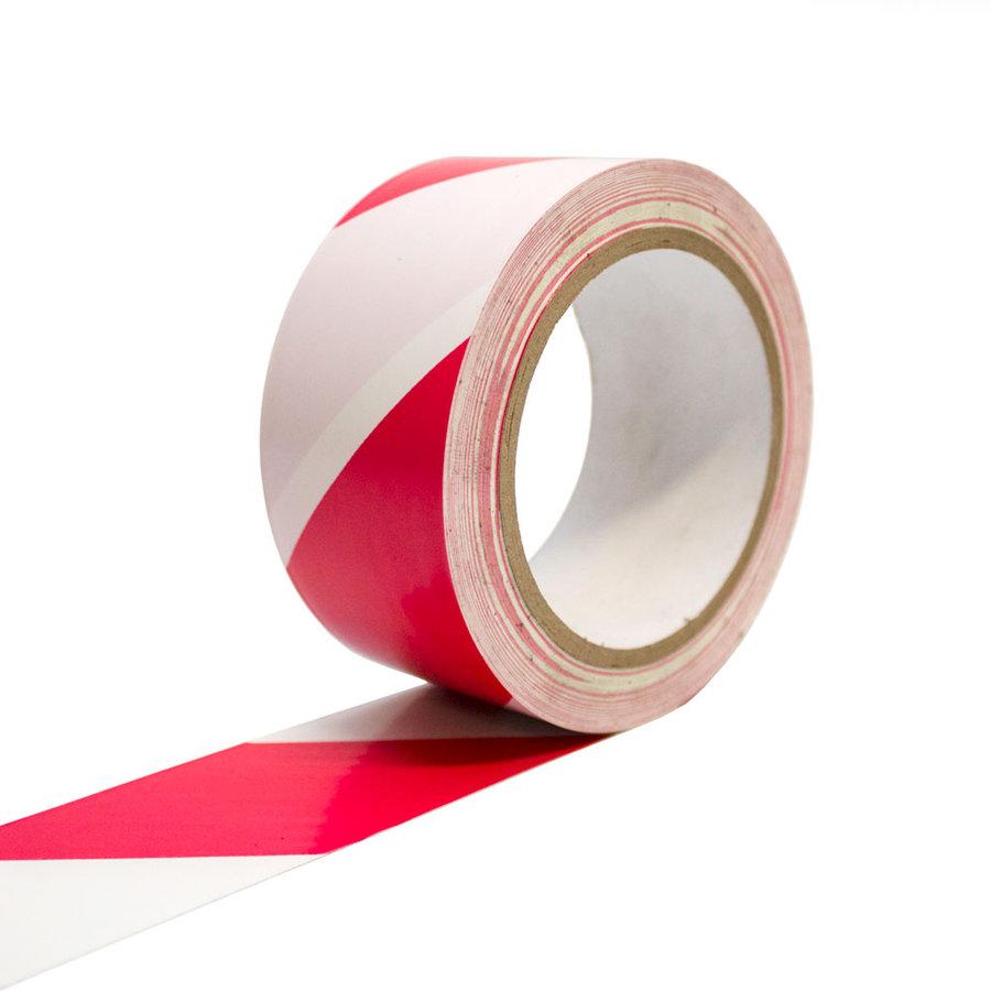 Bílo-červená vyznačovací samolepící podlahová páska - délka 33 m a šířka 5 cm