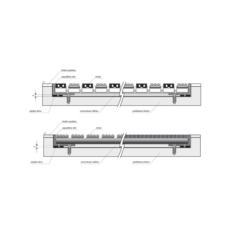Hliníkový rám pro vstupní rohože a čistící zóny FLOMA pro zapuštění do podlahy - délka 1 cm, šířka 3 cm, výška 1 cm a tloušťka 0,2 cm