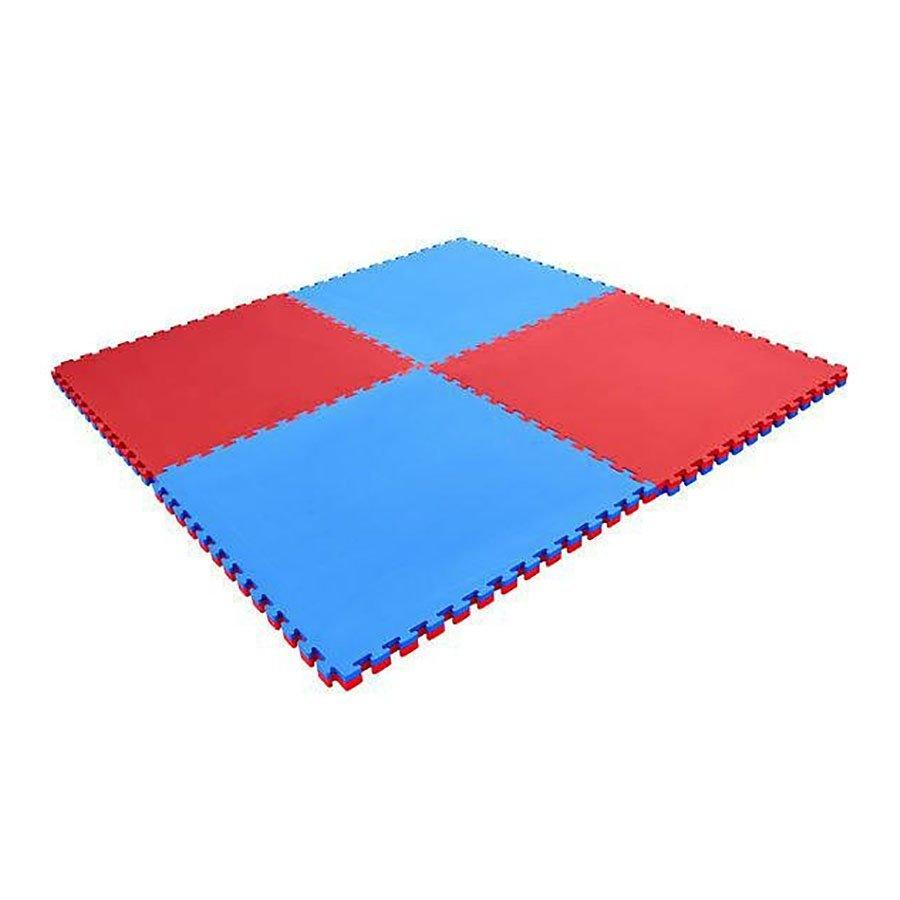 Červeno-modrá oboustranná pěnová modulární podložka - délka 100 cm a šířka 100 cm