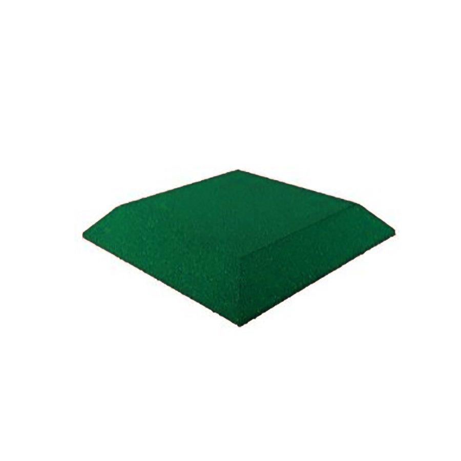 Zelená gumová krajová dopadová dlaždice (roh) (V65/R00) FLOMA - délka 50 cm, šířka 50 cm a výška 6,5 cm