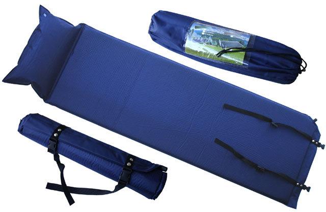 Modrá samonafukovací karimatka s podhlavníkem - délka 186 cm, šířka 53 cm a výška 2,5 cm