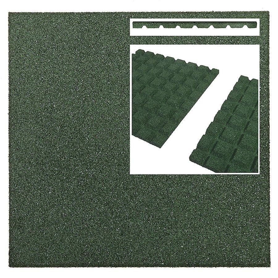 Zelená gumová dopadová dlaždice (V25/R15) FLOMA - délka 50 cm, šířka 50 cm a výška 2,5 cm
