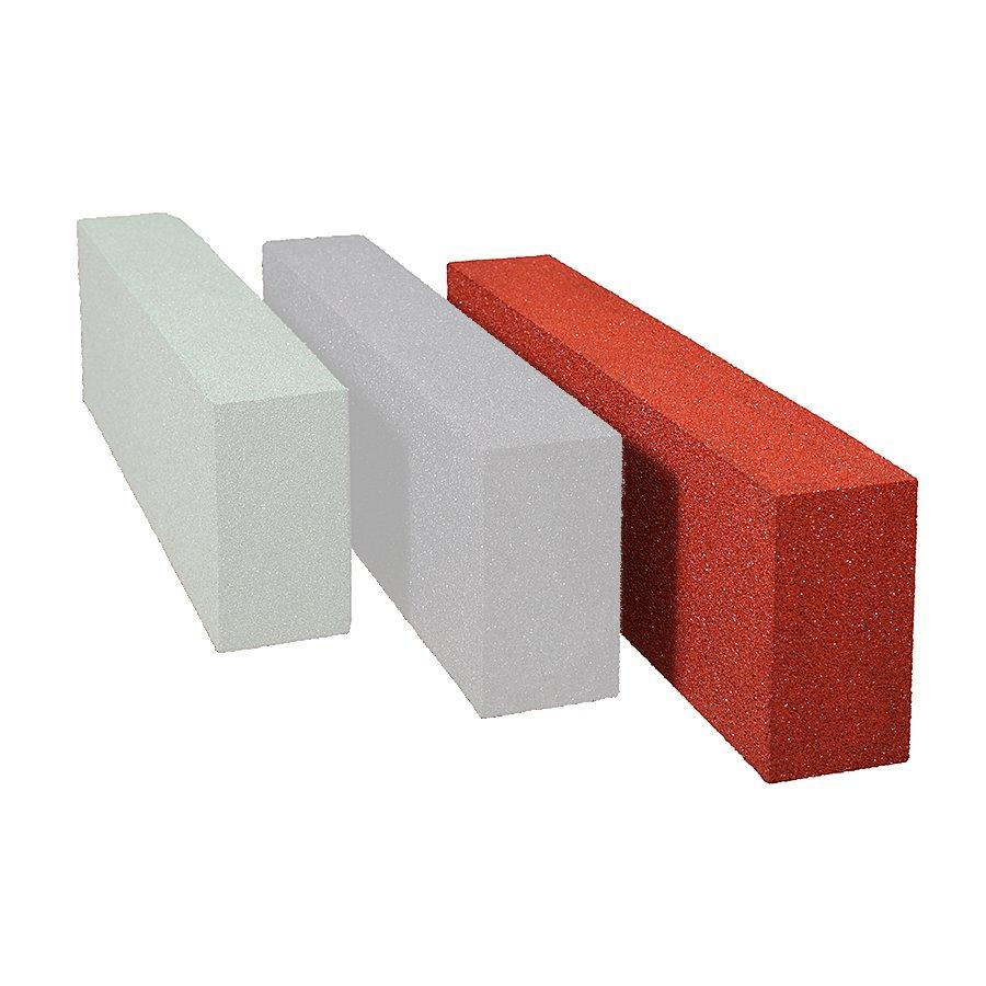 Červený gumový dopadový obrubník OB5 FLOMA - délka 150 cm, šířka 15 cm a výška 30 cm